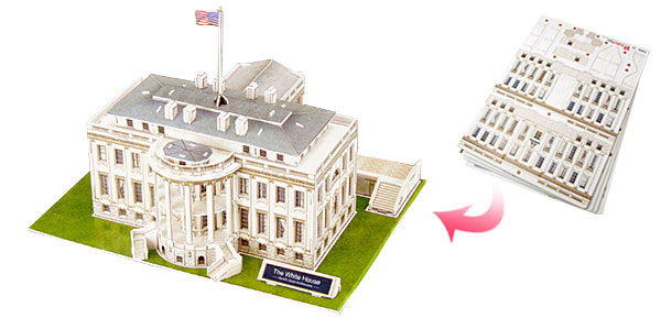 White House Model 3D Toys 64 Pieces Jigsaw Puzzles Toy