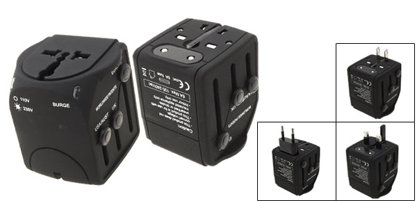 UK EU US Plug AC110-230V Input Travel Black Worldwide Universal Power Plug Adapter Adaptor