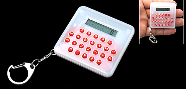 Pocket LCD 8 Digit Percentage White Electronic Calculator Key Chain