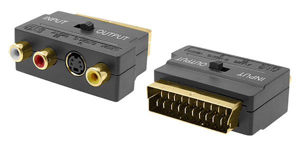 Scart to 3 RCA Phono & SVHS TV Gold-Plated Adapter Converter
