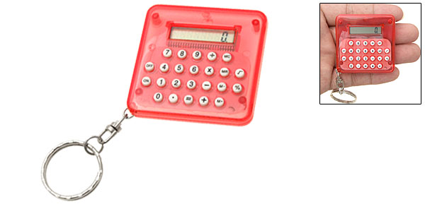 Red Pocket LCD 8 Digit Percentage Electronic Calculator Key Chain