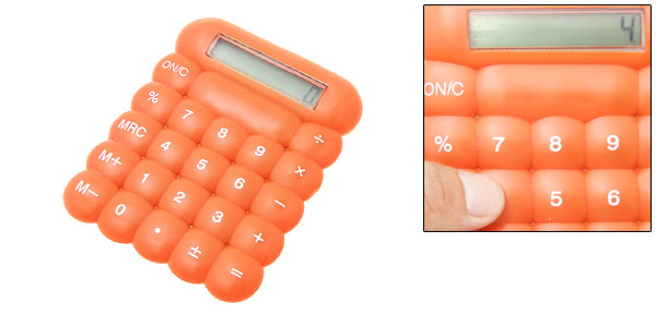 Orange Plastic LCD 8 Digit Percentage Electronic Calculator