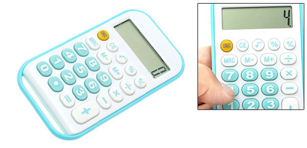 Blue Green Percentage Pocket LCD 8 Digit Digital Calculator