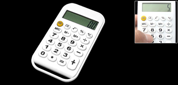 Percentage Pocket LCD 8 Digit Digital Calculator White