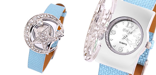 Star Moon Girls Ladies Rhinestone Quartz Watch Light Blue Band