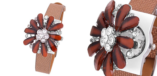 Fashion Jewelry Brown Daisy Women's Girls Rhinestones Watch