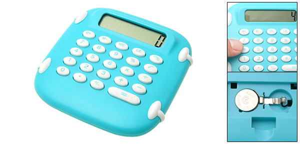 Blue Green Percentage Palm LCD 8 Digit Electronic Calculator