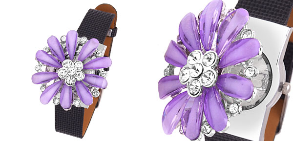 Fashion Jewelry Women's Girls Rhinestones Purple Daisy Watch Black Band