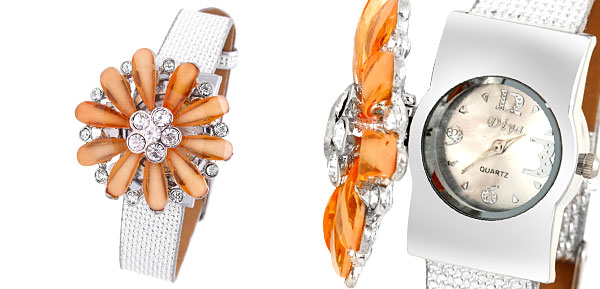 Rhinestones Women's Girls Orange Daisy Quartz Watch Silver Band