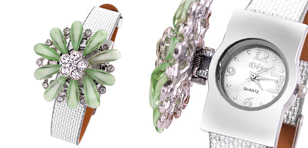 Rhinestones Girls Womens Green Daisy Quartz Watch Silver Band