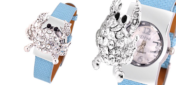 Crab Rhinestone Girls Ladies Quartz Watch Light Blue Band