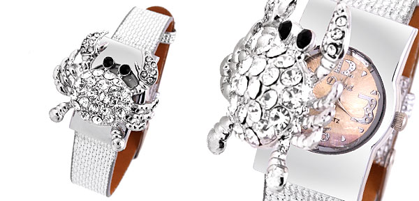Crab Rhinestone Silver Band Girls Ladies Quartz Watch