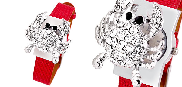 Crab Red Band Rhinestone Girls Ladies Quartz Watch