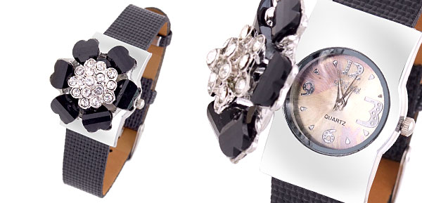 Fashion Jewelry Flower Rhinestones Girls Ladies Quartz Watch Black Band
