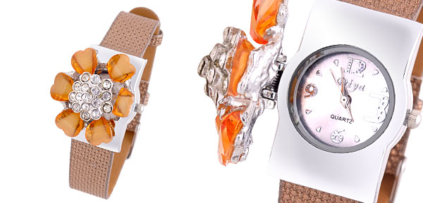 Fashion Jewelry Flower Rhinestones Brown Band Ladies Girls Quartz Watch