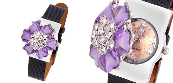 Fashion Jewelry Purple Flower Ladies Girls Rhinestones Quartz Watch