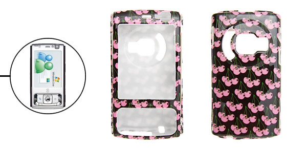 Pink Cherry Patterned Hard Plastic Cover Case Holder for Nokia N95