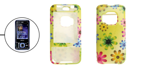 Flower Pattern Hard Plastic Cover Case Holder for Nokia N81 Green