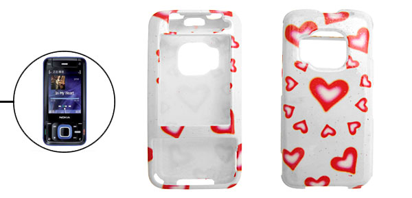 Red Hearts Pattern Hard Plastic Cover Case Holder for Nokia N81