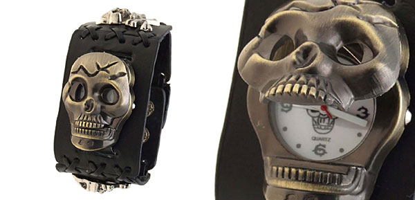 Men's Gothic Skull Black Wide Leather Wristband Cuff Bracelet  Watch