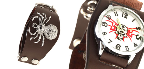 Spider Men's Wide Leather Cuff Bracelet Watch Brown
