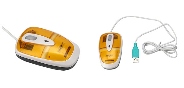 Desktop Laptop PC Mini Scroll PS/2 USB 3D Optical Mouse Yellow