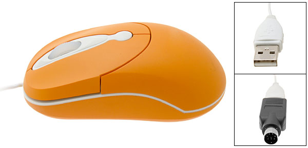 Mini PC Computer Laptop PS/2 USB Optical Mouse Orange