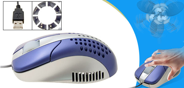 Blue 3D Desktop Laptop Computer Cool Fan USB Optical Mouse