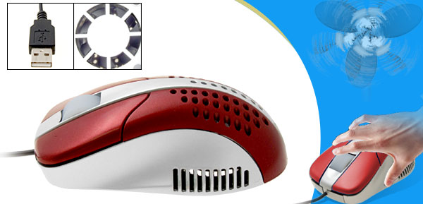 Red Cool Fan USB 3D Desktop Laptop Computer Optical Mouse