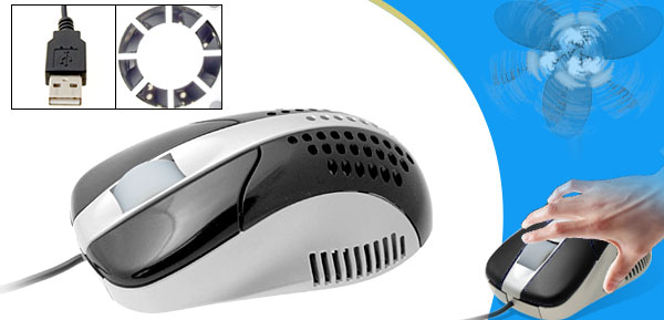 Black Cool Fan 3D Desktop Laptop Computer USB Optical Mouse