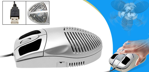 3D Desktop Laptop Computer USB Optical Cool Fan Mouse Silver