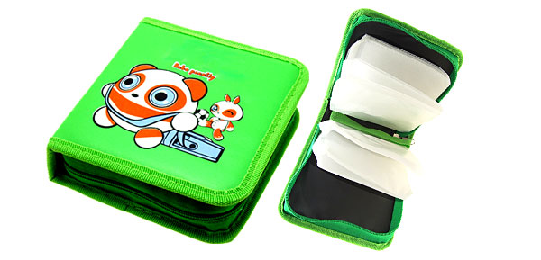 Green Panda VCD DVD CD Leather Storage Carrying Case Bag
