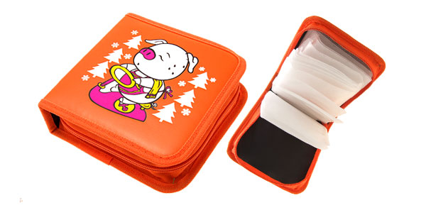 Orange Cartoon Pig Leather VCD DVD CD Carrying Storage Case Bag