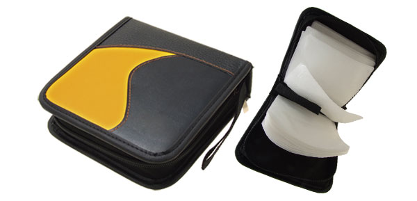 Yellow and Black Leather DVD VCD CD Carrying Storage Case Bag Holder