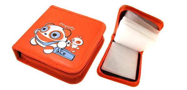 Orange Panda Leather VCD DVD CD Storage Carrying Case Bag