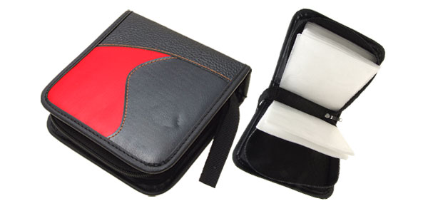 Red and Black Leather CD DVD VCD Carrying Storage Case Bag Holder