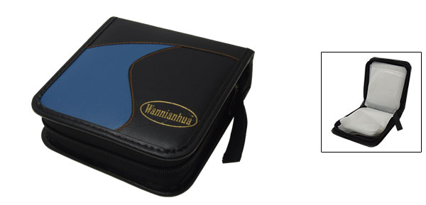 Blue and Black Leather CD Carrying Case DVD VCD Storage Bag Holder