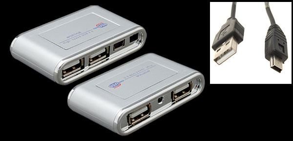 Silver Ultra Mini Hi Speed 4 Port USB 2.0 Hub for Laptop