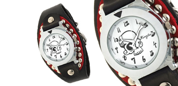 Skull and Crossbones Dial Men's Wide Leather Cuff Bracelet Watch Black