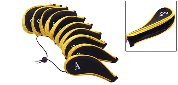 Black 10 PCS Set Golf Club Iron Headcover Head Cover Case