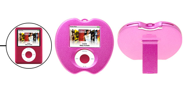 Purple Pink Apple Plastic Hard Case Cover with Stand for iPod Nano 3G 3rd Generation