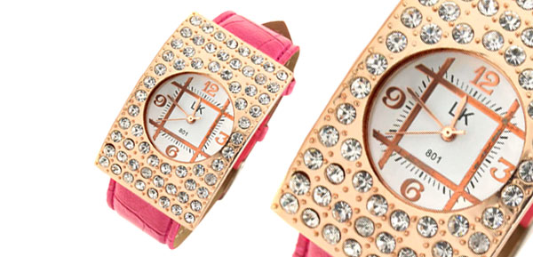Arciform Womens Girls Rhinestone Quartz Watch Rosered Band