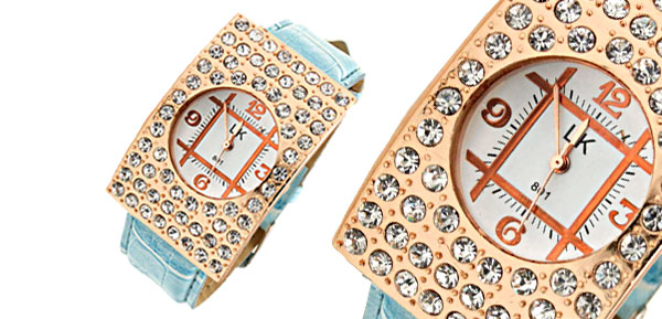 Blue Arciform Rhinestone Womens Girls Quartz Watch