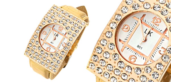 Fashion Jewelry Golden Arciform Rhinestone Girls Womens Quartz Watch