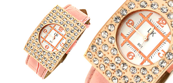 Arciform Rhinestone Girls Womens Quartz Watch Pink Band