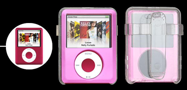 Pink Crystal Plastic Case For iPod 3G 3rd Generation With Belt Strap