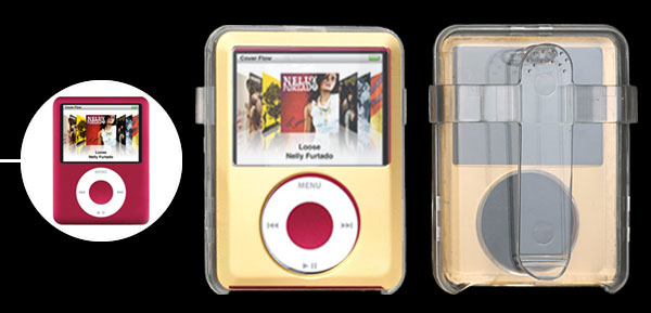 Golden Crystal Plastic Case with Belt Strap for iPod Nano 3G 3rd Generation