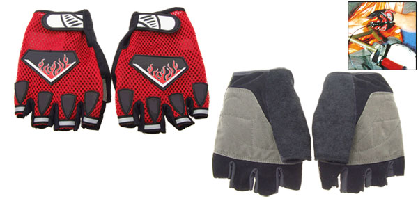Red Sports Mountain Bike Driving Fingerless Gloves Large