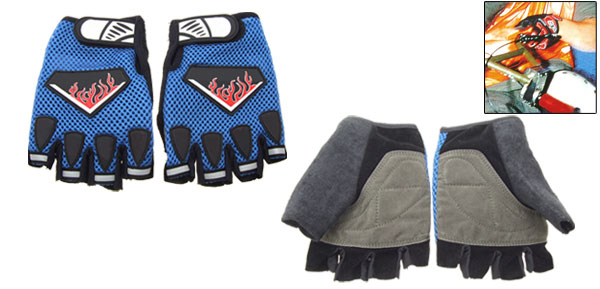 Blue Fingerless Sports Mountain Bike Driving Gloves Medium