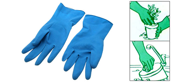 Large Household Long Latex Rubber Gloves Light Blue